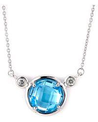 Samuel B Fine Jewelry - Samuel B. Fine Jewelry 14k 1.74 Ct. Tw. Diamond & Topaz Necklace - Lyst