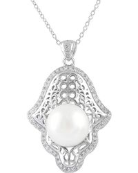 Splendid - Silver 12-12.5mm Freshwater Pearl Cz Necklace - Lyst