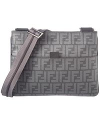 a0468acba484 Fendi - Grey Zucca Coated Canvas Sling Messenger Bag - Lyst