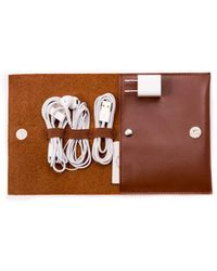 Bey-berk - Brown Leatherette Travel Charger Case - Lyst