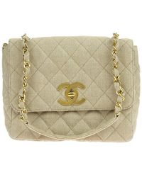 Chanel | Vintage Beige Quilted Canvas Flap Bag | Lyst
