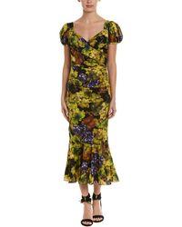 Dolce & Gabbana - Ruched Silk-blend Midi Dress - Lyst