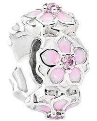 PANDORA Silver Cz & Enamel Magnolia Bloom Spacer - Metallic