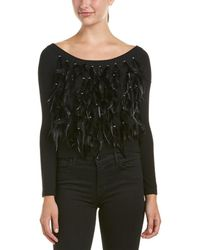 Haute Hippie Feather Fringe Wool-blend Jumper - Black