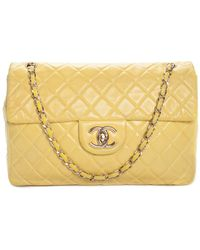 2b6b3f50dd08 Chanel - Yellow Quilted Leather Classic Maxi Single Flap Bag - Lyst