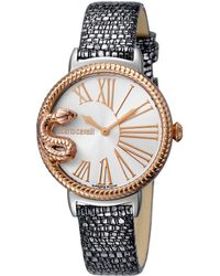 Roberto Cavalli - Ladies Sapphire..silver Leather Strap.... - Lyst