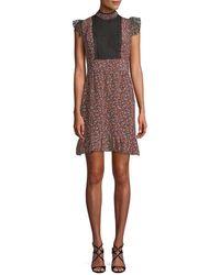 Anna Sui - Woodland Flowers Mesh Yoke Mini Dress - Lyst