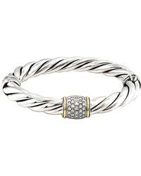 David Yurman   David Yurman Metro 18k & Silver 0.50 Ct. Tw. Diamond Bangle Bracelet   Lyst