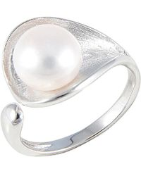 Splendid - Rhodium Plated Silver 9-9.5mm Freshwater Pearl Ring - Lyst