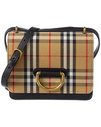 beaf30cee39e Burberry - Mini D-ring Vintage Check Canvas   Leather Crossbody - Lyst