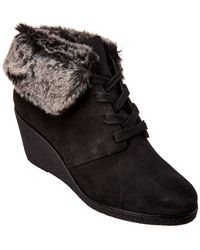 Cole Haan - Grand Os Coralie Faux Fur Trimmed Wedge Booties - Lyst