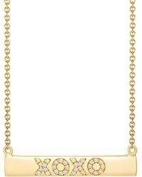 Ariana Rabbani - 14k 0.20 Ct. Tw. Diamond Xoxo Small Bar Necklace - Lyst