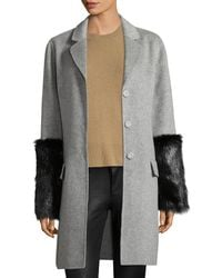 Pure Navy - Fur Cuff Coat - Lyst