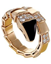 bvlgari bulgari serpenti 18k rose gold 080 ct tw diamond u0026 onyx ring