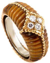 Heritage Van Cleef & Arpels - Van Cleef & Arpels 18k 0.17 Ct. Tw. Diamond & Tiger's Eye Ring - Lyst