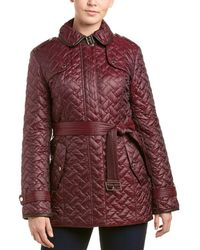Cole Haan - Leather-trim Quilted Coat - Lyst