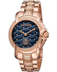 Roberto Cavalli - Women's Rose Gold Quilted Watch - Lyst