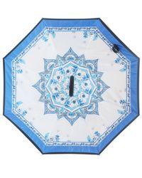Unique Umbrellas - White & Blue Floral Pattern Umbrell - Lyst