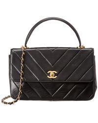 Chanel - Black Lambskin Leather Top Handle Flap Bag - Lyst