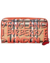 Burberry - Graffiti Print Check Leather Zip Around Wallet - Lyst