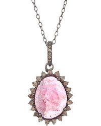 Adornia - Fine Jewelry Rhodium Plated Silver 5.50 Ct. Tw. Diamond & Pink Tourmaline Necklace - Lyst
