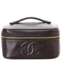ac021109c065 Chanel - Black Caviar Leather Horizontal Vanity Case - Lyst