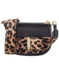 Ferragamo - Anna Vara Lux Leopard Haircalf & Leather Shoulder Bag - Lyst