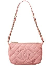 Chanel - Pink Quilted Caviar Leather Timeless Cc Pochette - Lyst