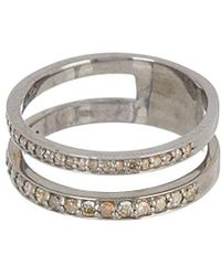 Adornia - Fine Jewelry Rhodium Plated Silver 0.50 Ct. Tw. Diamond Ring - Lyst
