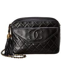8dd316019ba3 Chanel - Quilted Black Lambskin Leather Medium Cc Tab Camera Bag - Lyst