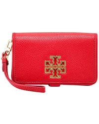 514f6b794145 Lyst - Tory Burch  marion  Smartphone Wristlet in Natural