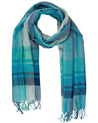 Saachi - Turquoise Wool-blend Shaded Striped Scarf - Lyst