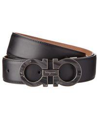 Ferragamo - Double Gancio Adjustable Marble Buckle Leather Belt - Lyst