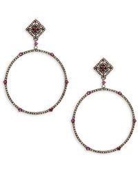Bavna - Diamond Sterling Silver Earrings - Lyst