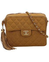 Chanel - Quilted Hemp Tassel Chain Shoulder Bag - Lyst