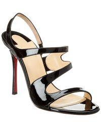 bd8e4e74d1d2 Lyst - Christian Louboutin Vavazou 100 Glitter Leather Sandal in ...