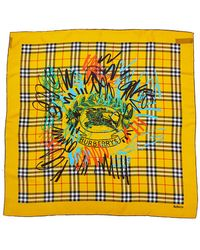 Burberry - Scribble Archive Vintage Print Silk Scarf - Lyst