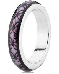 PANDORA - Purple Floral Vintage Silver Enamel Ring - Lyst