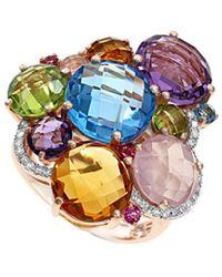 Effy - Fine Jewelry 14k Rose Gold 12.19 Ct. Tw. Diamond & Gemstone Ring - Lyst