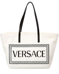 be75f2a50d01 Versace - Canvas Logo Tote Bag - Lyst