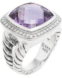 David Yurman - David Yurman Silver 14.35 Ct. Tw. Diamond & Amethyst Ring - Lyst