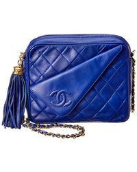 Chanel - Navy Quilted Lambskin Leather Camera Bag - Lyst