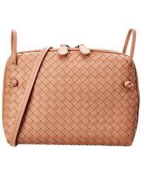 Bottega Veneta Intrecciato Nappa Leather Nodini Crossbody in Natural ... 927ef8615dd88
