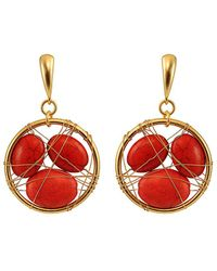 Gottex - Beauty Wire 18k Plated Coral Drop Earrings - Lyst