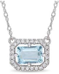 Rina Limor - Fine Jewellery 14k 0.65 Ct. Tw. Diamond & Aquamarine Necklace - Lyst