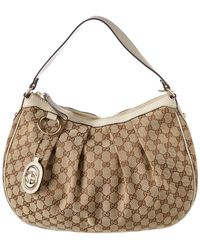 Gucci - Brown GG Canvas & White Leather Sukey Hobo - Lyst