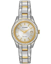 Citizen - Ladies Silhouette Crystal Swarovski Crystal Two-tone Stainless Steel Bracelet Watch - Lyst