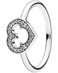 PANDORA - Disney Jewelry Collections Silver Mickey Silhouette Ring - Lyst