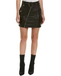 Bagatelle - Leather Moto Skirt - Lyst