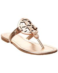 10b64661ce32 Lyst - Tory Burch Miller Thong Sandals - Piano Stripe B Gold in Metallic